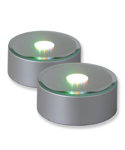 Merchandise Display Base, Silver, Led Color Changing Lights, Mirrored, Round (Pack Of 2)