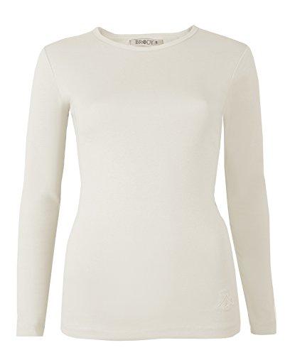 A maniche lunghe da donna Tops T-shirts tinta unita elasticizzato sci girocollo di Brody & Co cotone extra qualità Cream Small