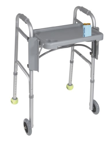 "Drive Medical Deluxe Folding Walker Tray, Gray, 16"" X 12"" front-986616"
