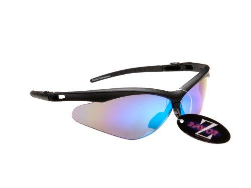 Rayzor Professionelle Leichte UV400 Schwarz Sports Wrap GOLF Sonnenbrille, With Blue Iridium Mirrored Blend Lens.