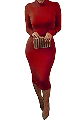 Pink Queen® Womens Turtleneck Long Sleeve Mid Length Bodycon Bandage Dress