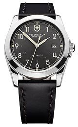 Victorinox Swiss Army Infantry Mechanical Dark Grey Dial Black Leather Mens 241586