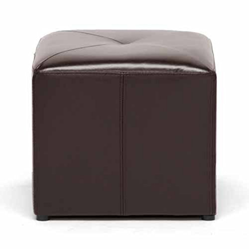 Ottomans Brussels Brown Bonded Leather Storage Chest: Baxton Studio Lave Cube-Shaped Brown Bonded-Leather
