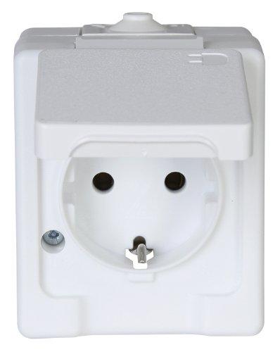 100602003 Aufputz-Feuchtraum Schutzkontakt-Steckdose mit Klappdeckel, IP44, Standard