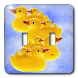 Rubber Duck - Toy Duck on blue - Light Switch Covers - double toggle switch
