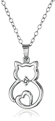 """Sterling Silver Diamond-Accented Cat Pendant Necklace, 18"""""""