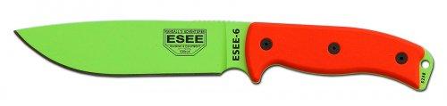 Esee 6P-Vg Venom Green Knife With Orange G-10 Handle W/ Black Sheath