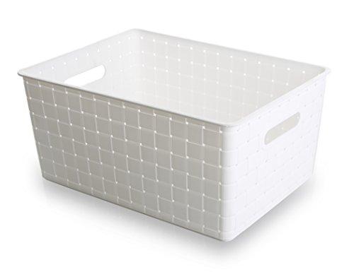 Bino Woven Plastic Storage Basket White Large