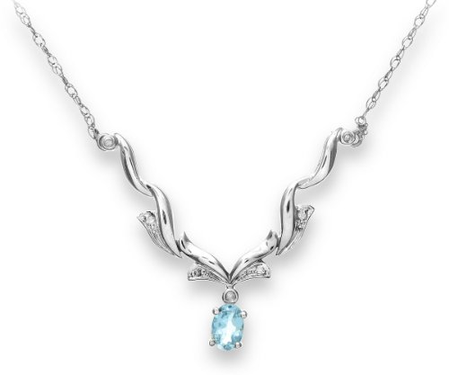 Ladies' Diamond and Blue Topaz Necklace, Prong Set, 9ct White Gold Trace Chain, 45cm Length, 0.04 Carat Diamond Weight, Model DP1095/BT/W