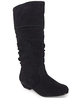 new womens black suede pixie low heel boots 3