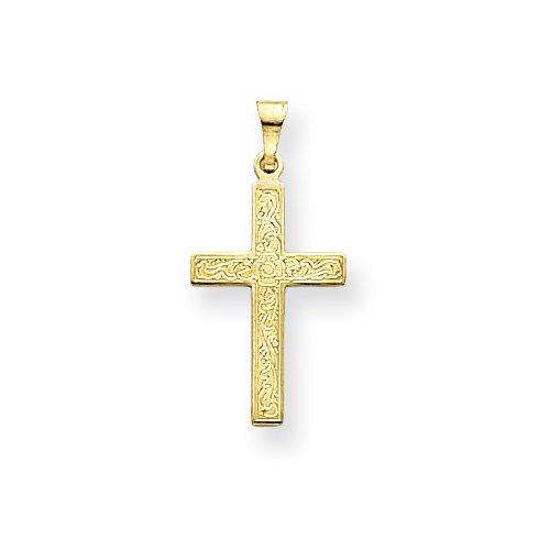 14k Floral Cross Pendant