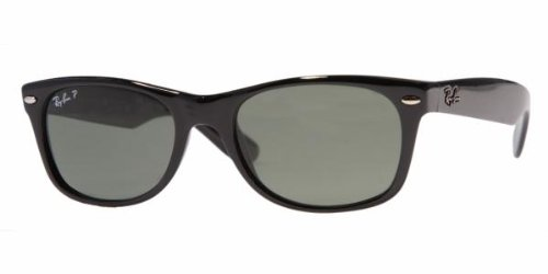Ray-Ban RB2132 New Wayfarer Polarized Sunglasses,BlackFrame/Blackish green Polarized Lens,55 mm