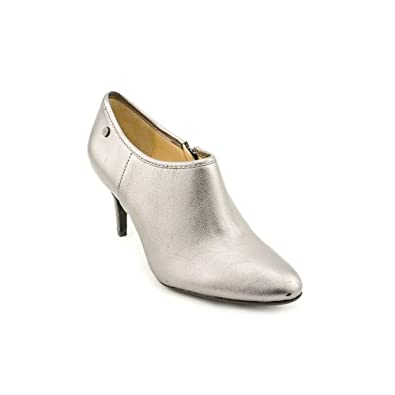 Calvin Klein Jenny Womens Size 6 Silver Leather Booties Shoes