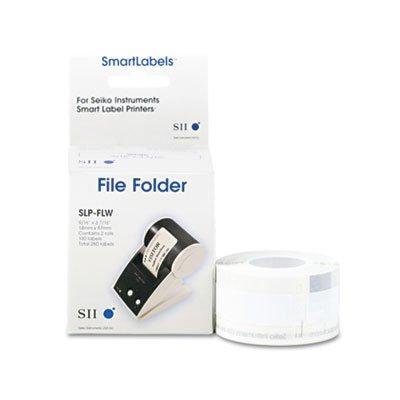Label Printer Hanging File Folder Labels, 1/3 Cut, 1-1/4 x 3-1/2, White, 130/Box