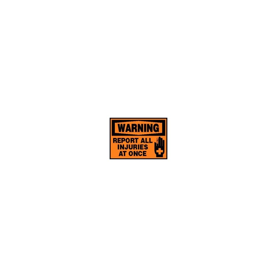 WARNING Labels REPORT ALL INJURIES AT ONCE (W/GRAPHIC) Adhesive Vinyl   5 pack 3 1/2 x 5