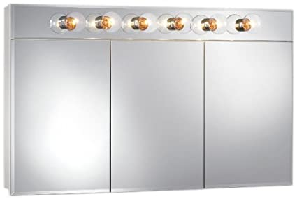 Jensen 755451 Ashland Lighted Frameless Medicine Cabinet with Six Bulbs