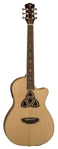 Luna TRI-PAR Trinity Electro Acousitc Parlour Guitar with B-band Tuner (Trinity/Celtic Sound Hole,Solid Spuce Top,Mahogany Back and Sides)
