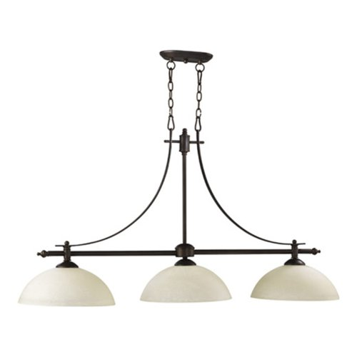 Quorum International 6577-3-86 Aspen Collection 3-Light Island Fixtures, Oiled Bronze Finish with Linen Glass Shades Quorum B007SV4QYK