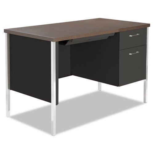 Alera Single Pedestal Steel Desk, Metal Desk, 45 1/4w x 24d x 29-1/2h, Walnut/Black (Pedestal For Desk compare prices)