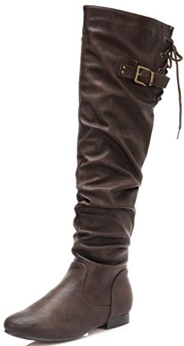 DREAM PAIRS COLBY Women's Fashion Winter Casual Over The Knee Horse Riding Pull On Zip Up Tie Calf Slouchy High Boots WIDE CALF BROWN PU SIZE 8 (Brown Boots With Ties compare prices)