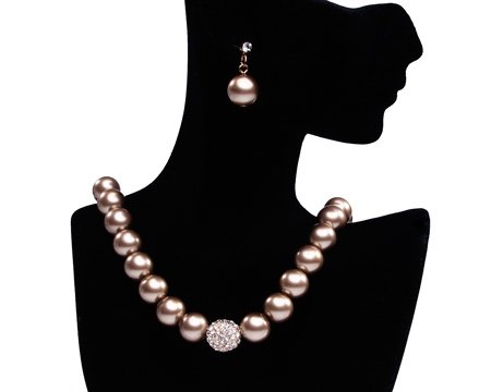 Formal Taupe Pearl Necklace & Earring Set With Rhinestone Ball - Light Brown Bridesmaid Jewelry