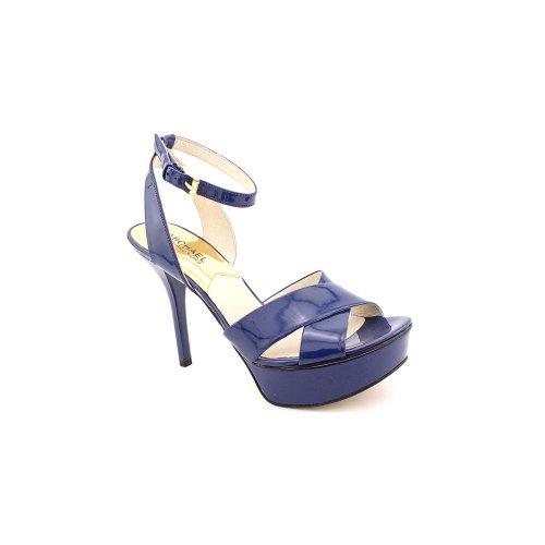 Kors Michael Kors Gideon Womens Size 7 Blue Open Toe Leather Pumps Heels Shoes