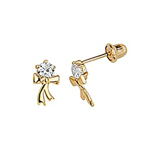14K Yellow Gold CZ Ribbon Bowtie Stud Earrings with Screw-back