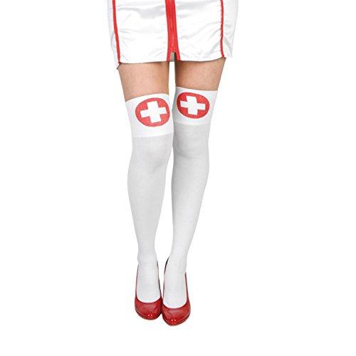 Femme Sexy et coquin Nurse Fancy Dress Bas Collants Blanc Chaussettes montantes d'urgence médicale de la Croix-Rouge