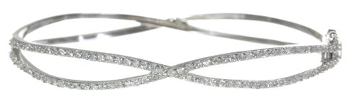 Beautiful 925 Sterling Silver Ladies Bangle with Cubic Zirconia/CZ - 7cm*70mm, 13 Grams