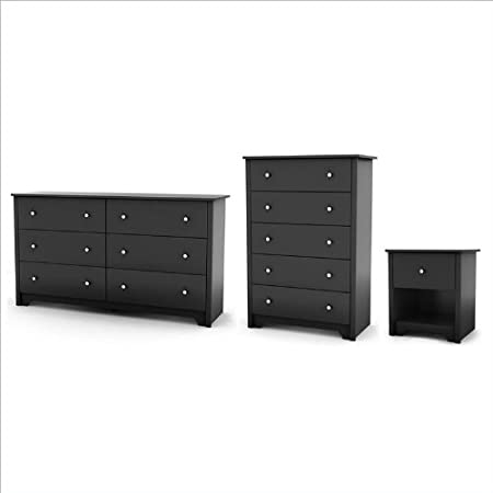 South Shore Breakwater Dresser, Chest and Nightstand Set in Pure Black