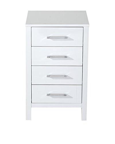 Virtu USA Dior 18 Modern Side Cabinet, White