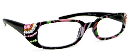 LZ New York High Quality Multi Black Frame Women&#039;s Fashion Reading Glasses with Genuine Swarovski Jet, Light Rose, Peridot, Topaz &amp; Crystal Clear /+225 at Amazon.com
