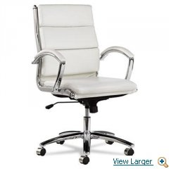 Alera Neratoli Mid-Back Swivel/Tilt Chair, White Faux Leather, Chrome Frame-- by BND 42167392154 NR4206