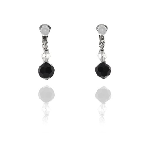 Petite Bead Drop Clip On Earrings - Black and Clear