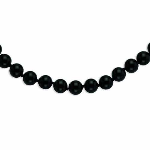 PriceRock 12-12.5mm Smooth Beaded Black Agate Necklace