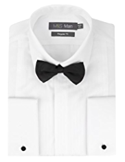 Satin Striped Dinner Shirt with Bow Tie