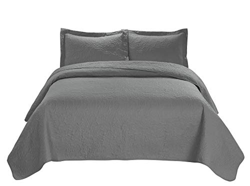 Unique Home 3 Piece JULES Ultrasonic Embossed Bedspread Set-Oversized Coverlet 100x106in, 118x106in (King, Gray) King