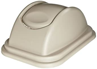 Rubbermaid Commercial FG306600BEIG Untouchable Rectangular Plastic Free-Swinging Lid, Beige