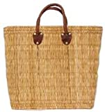 Moroccan Straw Summer Beach / Shopper / Tote Bag 18&quot;x15&quot;x7&quot;