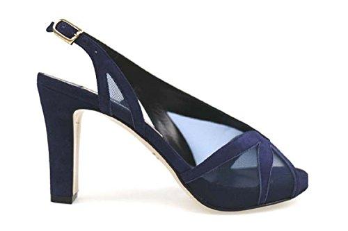 scarpe donna GUIDO SGARIGLIA sandali blu tessuto camoscio AP800 (38,5 EU)