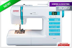 Janome DC2013 Computerized Sewing Machine with 50 Built-In Stitches w/ Hard Case + Walking Foot + 1/4