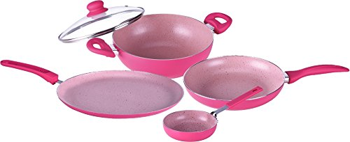 Wonderchef French Blossom Induction Base Cookware Set, 4-Pieces with free mini fry pan, Pink