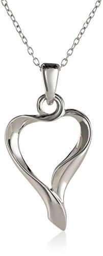 """Sterling Silver Wave Open Heart Pendant Necklace, 18"""""""