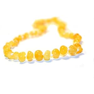 The Art of CureTM *SAFETY KNOTTED* Butter w/white flecks - (Unisex) - Certified Baltic Amber Baby Teething Necklace Highest Quality Guaranteed- Anti Inflammatory, Drooling & Teething Pain. Easy to Fastens with a Twist-in Screw Clasp Mothers Approved Remedies!