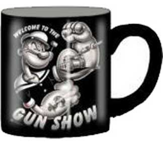 Silver Buffalo Popeye Welcome To The Gun Show Ceramic Mug, 14 Ounces, Multicolored (Py2132)