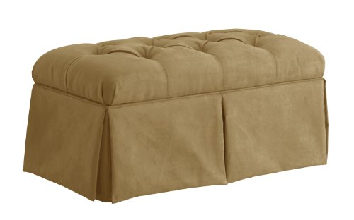 Skyline Furniture Velvet Skirted Storage Bench, Honey
