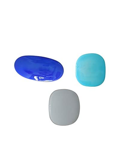 3-Piece Glass Wall Installation, Blue/Aqua/White
