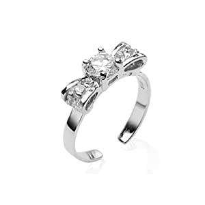 925 Sterling Silver Toe Ring Bow Solitaire CZ