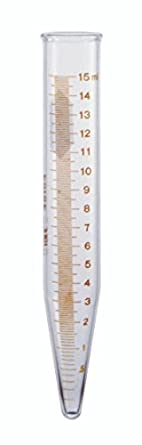 Kimax 45164-15 Glass Conical Bottom 15mL Graduated Centrifuge Tube with Red Stain Scale and Legend (Case of 12)
