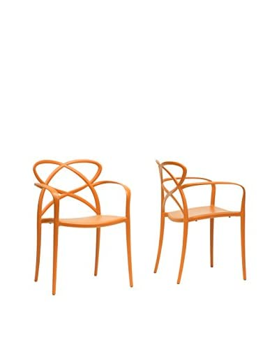 Baxton Studio Set of 2 Huxx Dining Chairs, Orange
